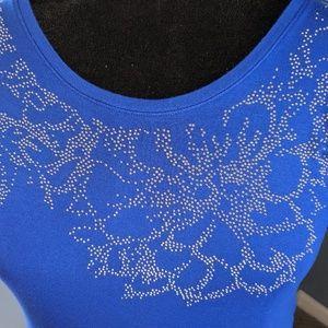 Cobolt Blue Cold-shoulder Studded top by Apt 9